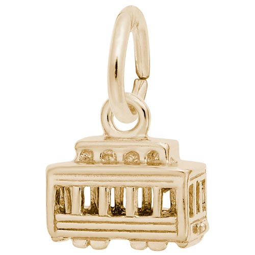 Gold Plate Cable Car Accent Charm by Rembrandt Charms