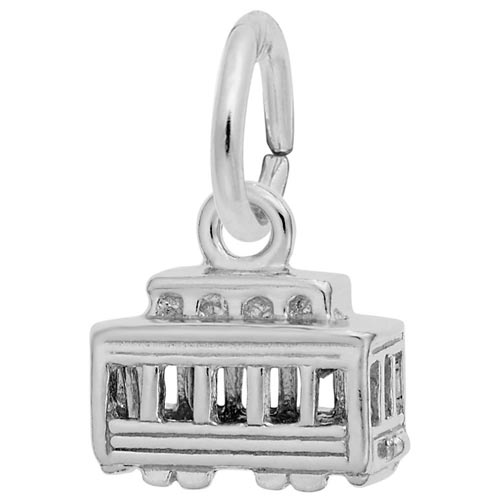 14K White Gold Cable Car Accent Charm by Rembrandt Charms