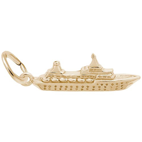 Gold Plate Small Cruise Ship Charm by Rembrandt Charms