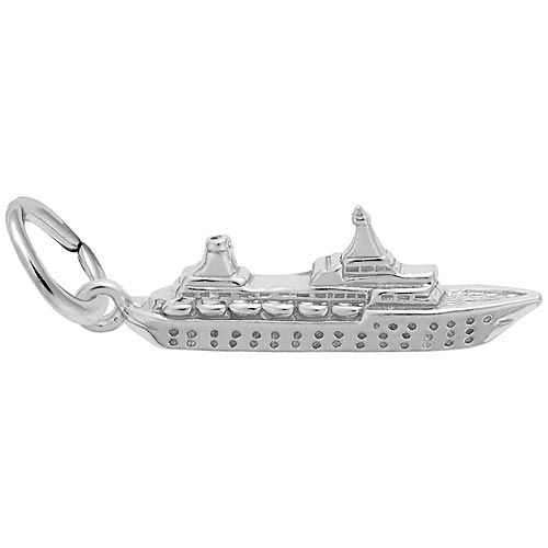 14K White Gold Small Cruise Ship Charm by Rembrandt Charms