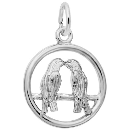 14K White Gold Love Birds Charm by Rembrandt Charms