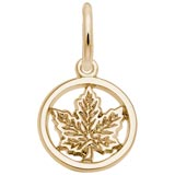 Rembrandt Ringed Maple Leaf Charm, 14K Yellow Gold