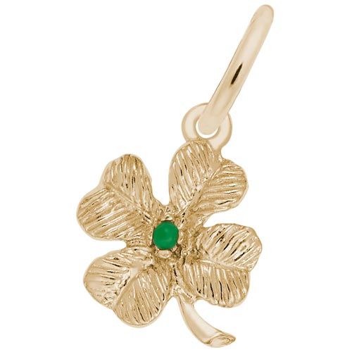 10K Gold 4 Leaf Clover Bead Accent Charm by Rembrandt Charms