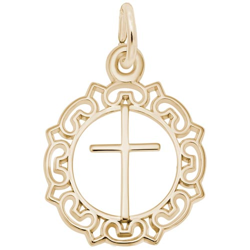 Gold Plate Cross with Ornate Border Charm by Rembrandt Charms