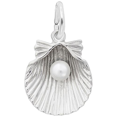 14K White Gold Clamshell with Pearl Charm by Rembrandt Charms