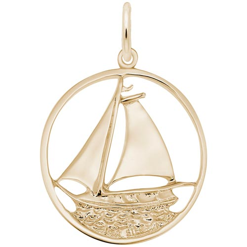 14K Gold Sailboat in Circle Charm by Rembrandt Charms