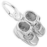 14K White Gold Baby Booties Accent Charm by Rembrandt Charms