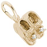 10K Gold Pearl Baby Booties Accent Charm by Rembrandt Charms