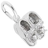 14K White Gold Pearl Baby Booties Accent Charm by Rembrandt Charms