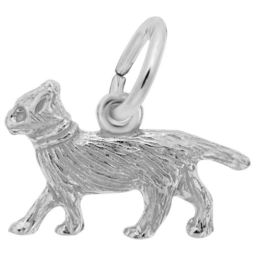 14K White Gold Walking Cat Accent Charm by Rembrandt Charms