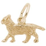 Gold Plate Walking Cat Accent Charm by Rembrandt Charms