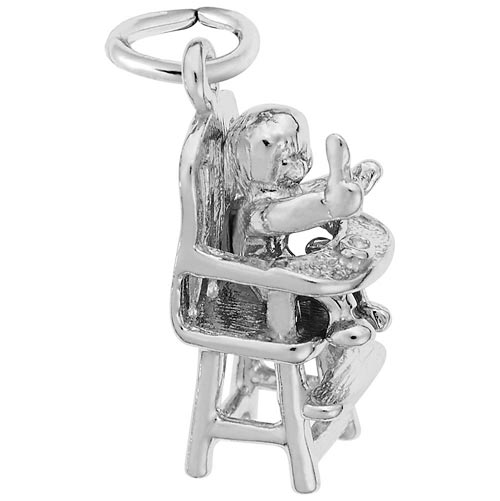 14K White Gold Highchair Charm by Rembrandt Charms