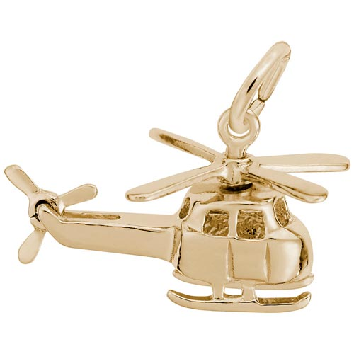 Gold Plate Small Helicopter Charm by Rembrandt Charms