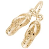 Gold Plate Pair of Flip Flops Accent Charm by Rembrandt Charms