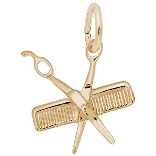 14K Gold Small Comb and Scissors Charm by Rembrandt Charms