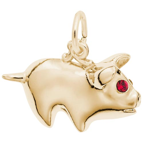 Gold Plate Piggy Bank Charm by Rembrandt Charms