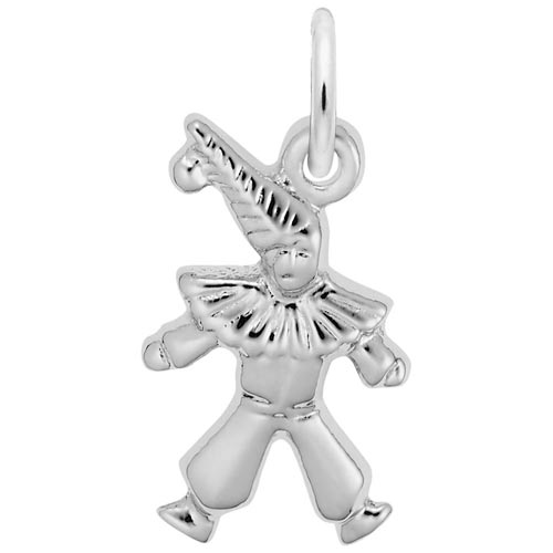 14K White Gold Clown Accent Charm by Rembrandt Charms