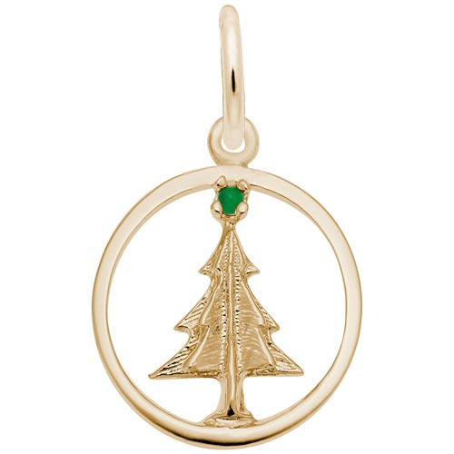 10K Gold Christmas Tree Circle Charm by Rembrandt Charms