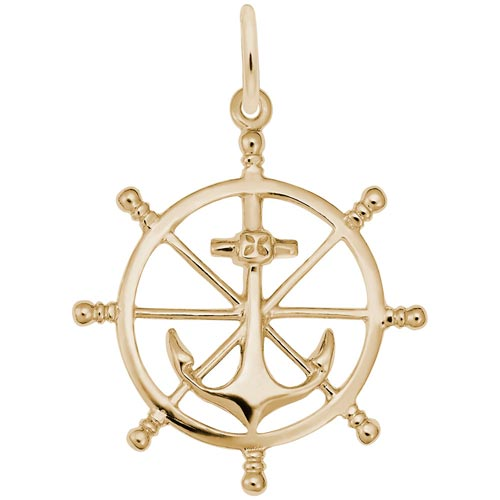 Gold Plate Anchor and Ship Wheel Charm by Rembrandt Charms