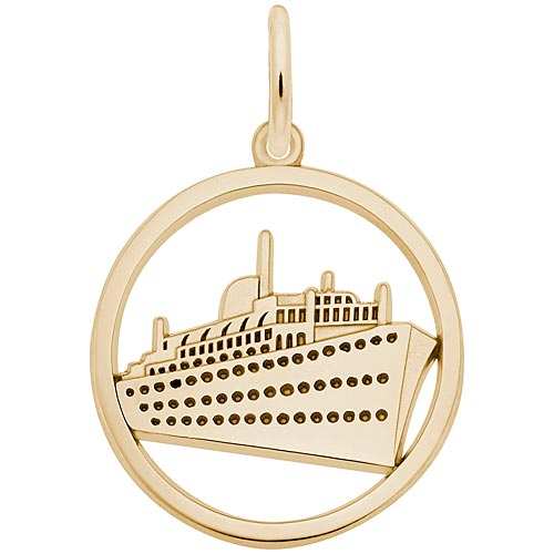Gold Plate Ringed Cruise Ship Charm by Rembrandt Charms