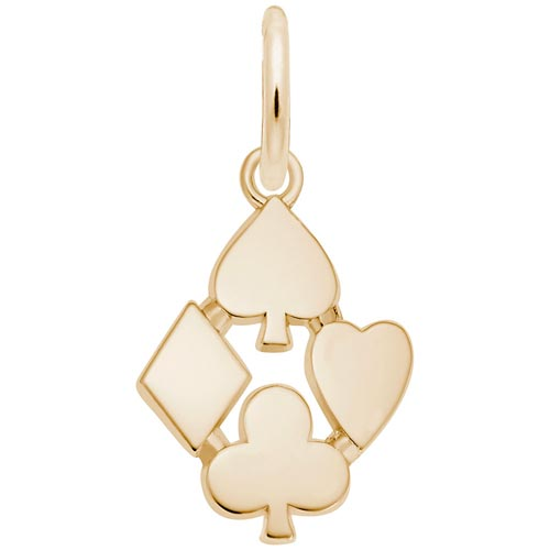 Gold Plate Playing Card Suits Charm by Rembrandt Charms