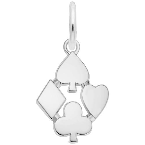 14K White Gold Playing Card Suits Charm by Rembrandt Charms