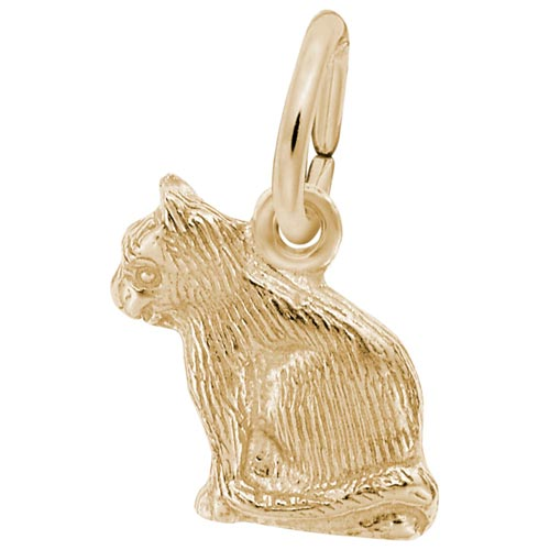 Gold Plate Sitting Cat Accent Charm by Rembrandt Charms