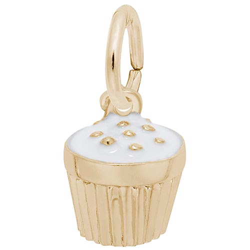 14k Gold White Cupcake Sprinkles Charm by Rembrandt Charms