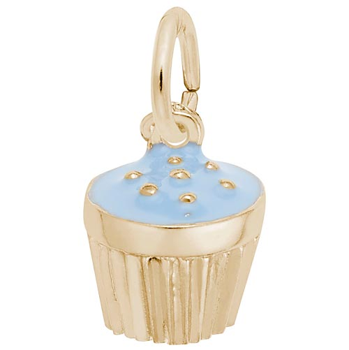 14k Gold Blue Cupcake Sprinkles Charm by Rembrandt Charms