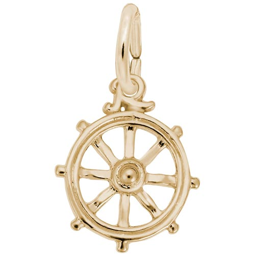 Gold Plate Ship Wheel Charm by Rembrandt Charms
