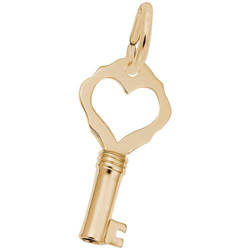 14K Gold Antique Heart Key Charm by Rembrandt Charms