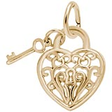 10k Gold Filigree Heart and Key Charm by Rembrandt Charms