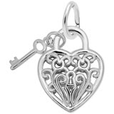 14k White Gold Filigree Puff Heart and Key by Rembrandt Charms
