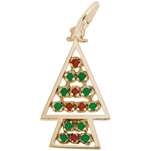 14K Gold Beaded Christmas Tree Charm by Rembrandt Charms