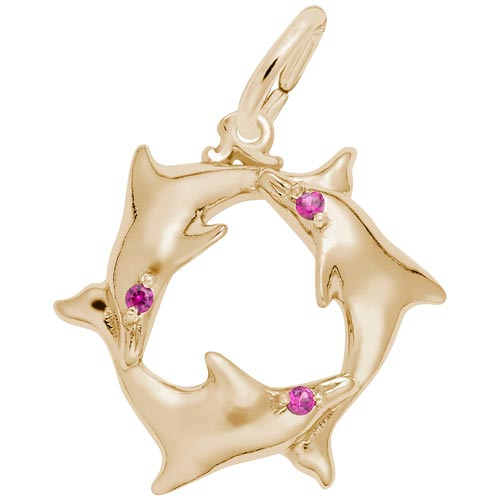 14K Gold Dolphins with Red Stones Charm by Rembrandt Charms