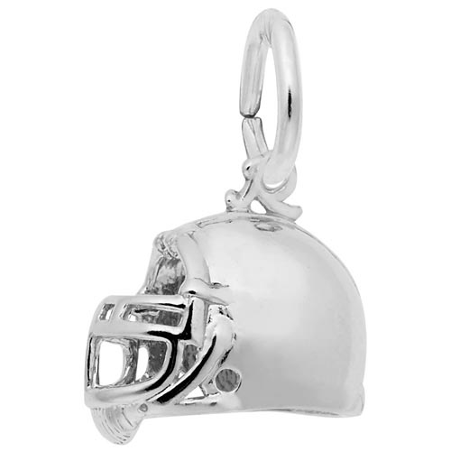 14K White Gold Football Helmet Charm by Rembrandt Charms