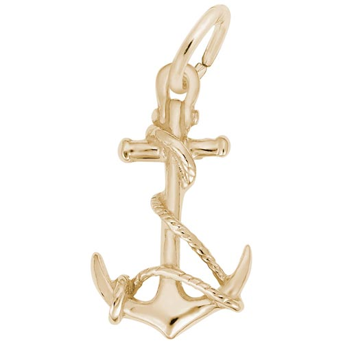 Gold Plate Anchor with Rope Charm by Rembrandt Charms