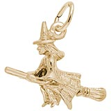 Gold Plated Witch on a Broom Charm by Rembrandt Charms