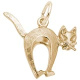14K Gold Arched Cat Charm by Rembrandt Charms