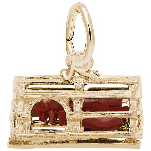 Gold Plate Lobster in Trap Charm by Rembrandt Charms