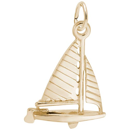 Gold Plate Striped Sloop Sailboat Charm by Rembrandt Charms