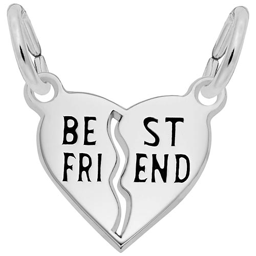 14k White Gold Best Friend Heart Charm by Rembrandt Charms