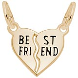 14k Gold Best Friends Shared Heart Charm by Rembrandt Charms