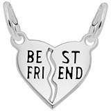 14k White Gold Best Friends Heart Charms by Rembrandt Charms