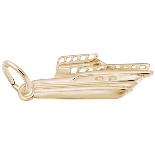 Gold Plate Fishing Boat Charm by Rembrandt Charms