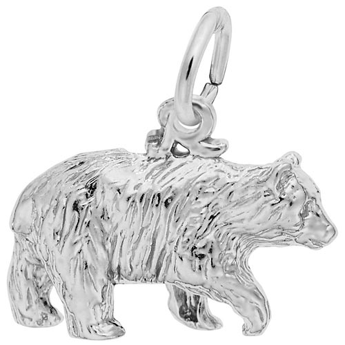 14K White Gold Black Bear Charm by Rembrandt Charms