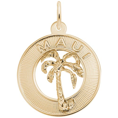 Gold Plate Maui Palm Tree Charm by Rembrandt Charms