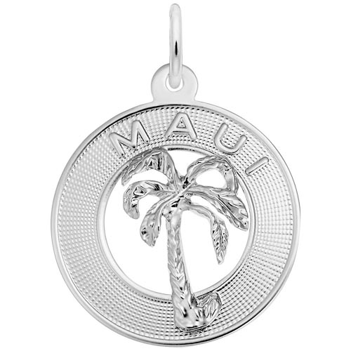 14k White Gold Maui Palm Tree Charm by Rembrandt Charms