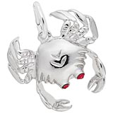 14K White Gold Crab with Stones Charm by Rembrandt Charms