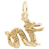 Gold Plate Chinese Serpent Dragon Charm by Rembrandt Charms